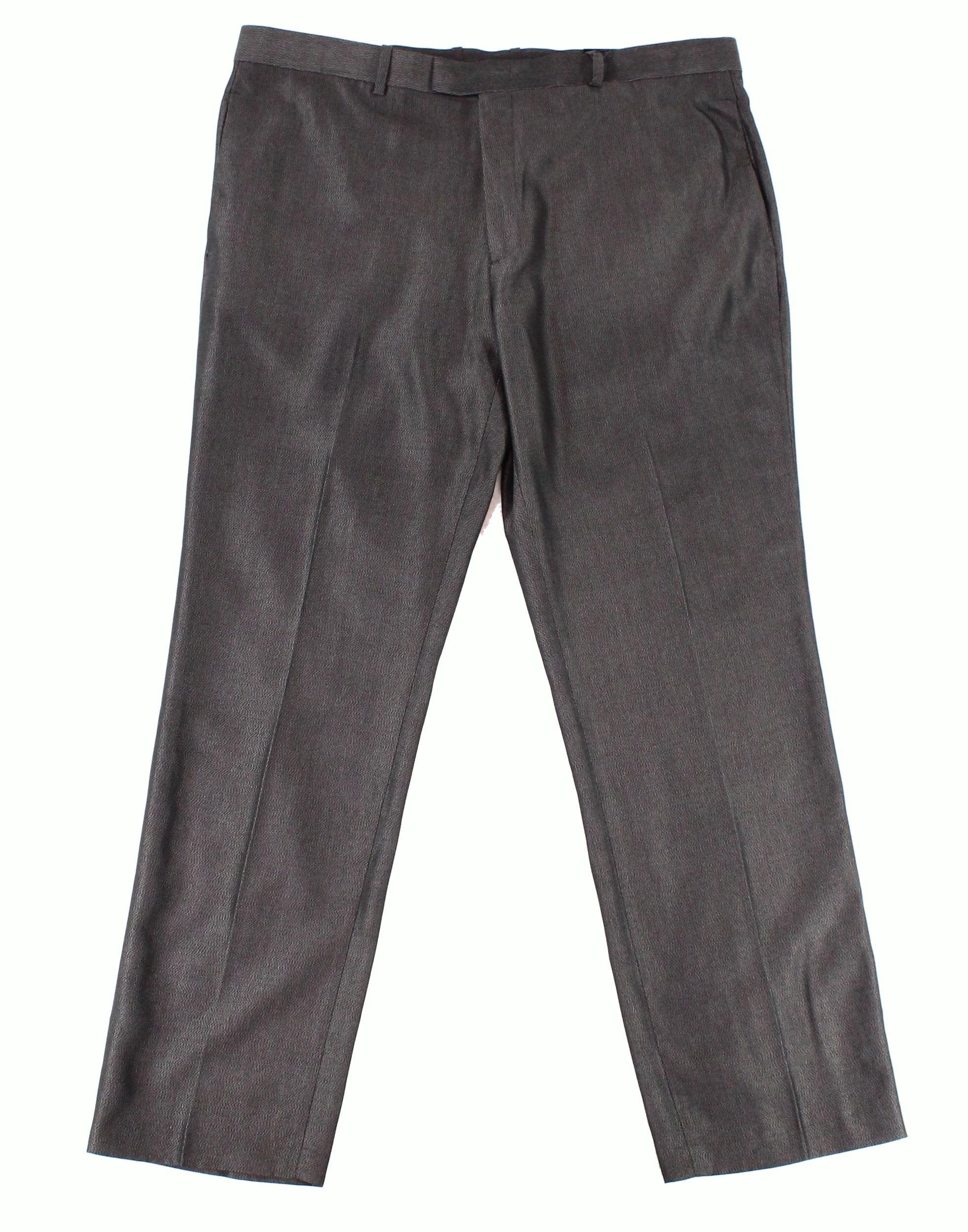 Alfani NEW Charcoal Gray Mens Size 38x30 Printed Dress Flat Front Pants
