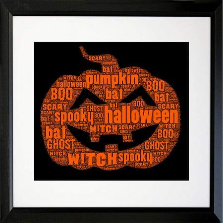 FRAMED Halloween Pumpkin Typography by Brandi Fitzgerald 16x16 MATTED Graphic Art Print](Matt Morrison Halloween)