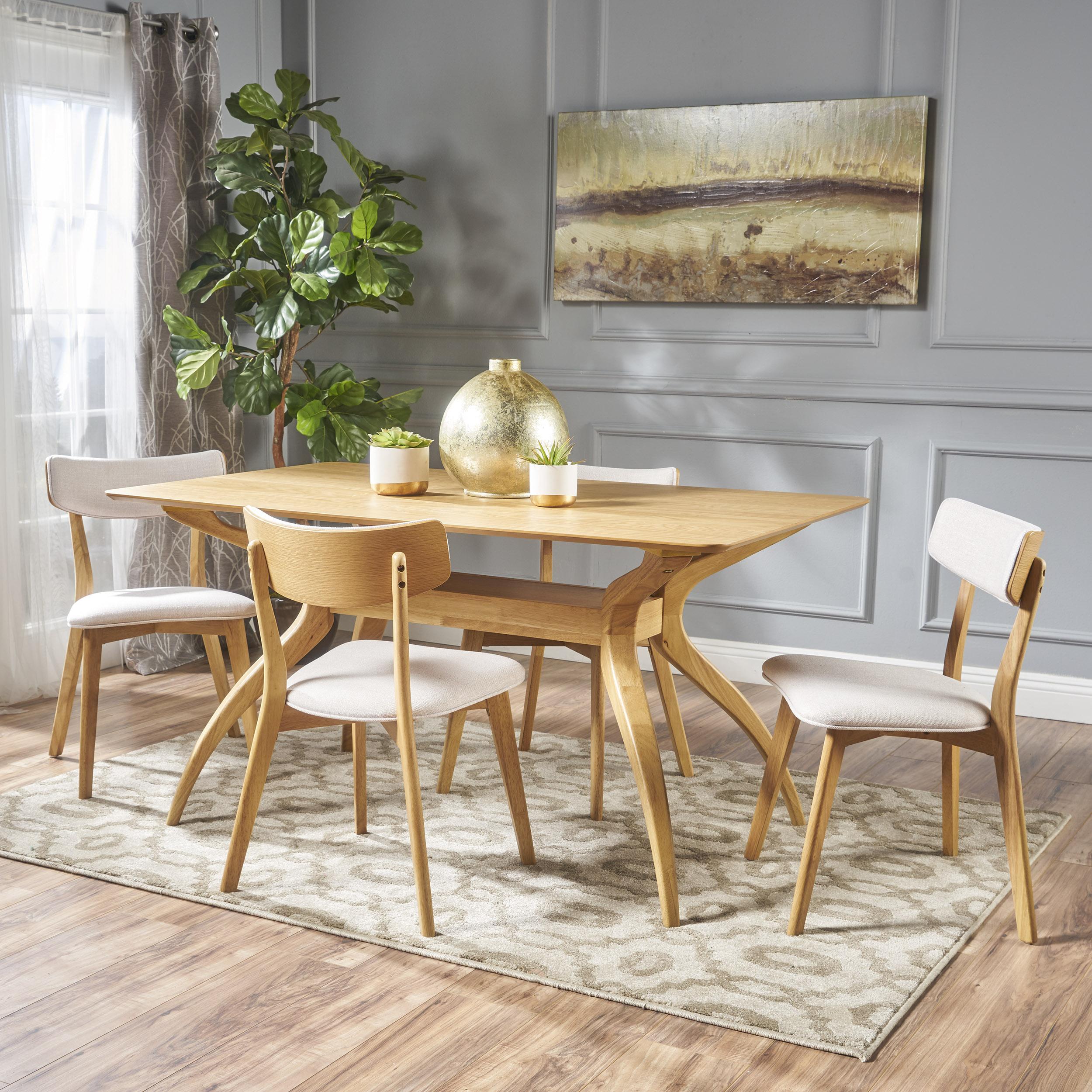 Noble House Banbury Mid Century Modern Wood 5 Piece Dining Set, Natural Oak, Light Beige