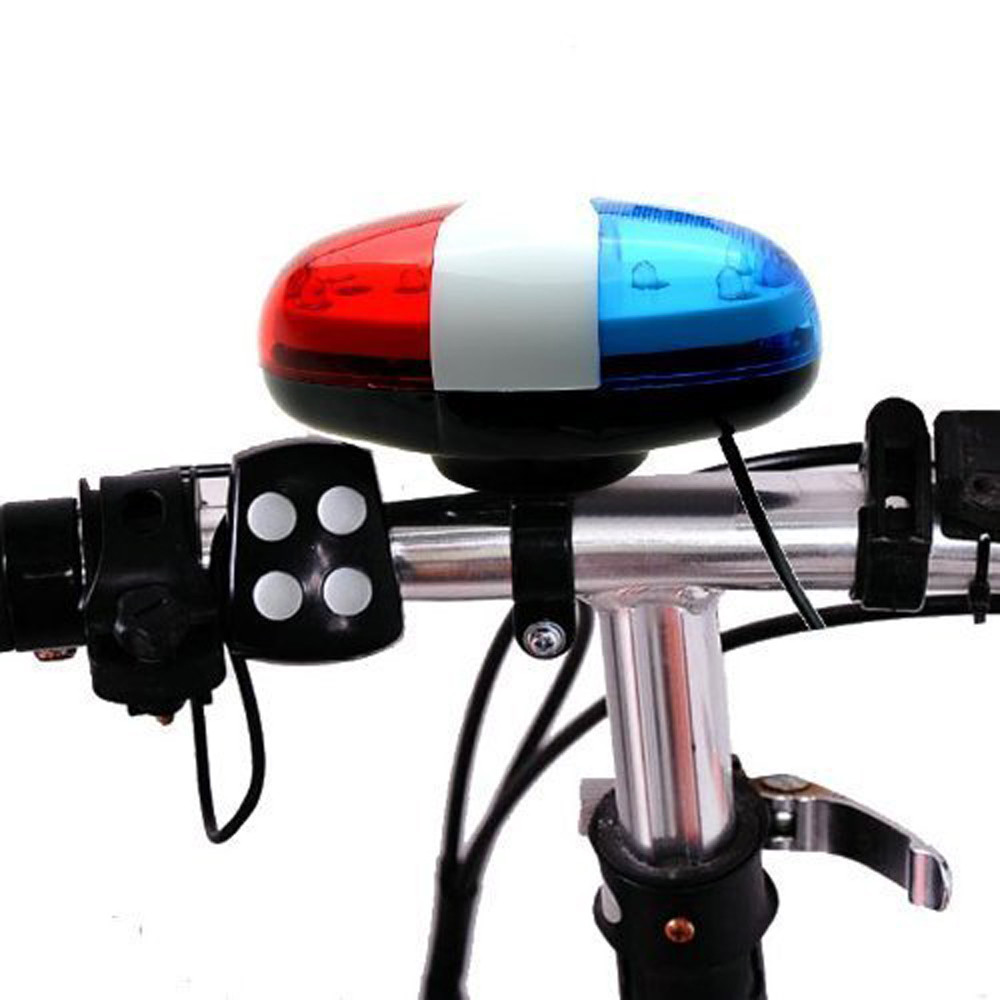 DZT1968 6 LED 4 Sounds Horn Bell Ring Police Car Light Trumpet For Bike Bicycle