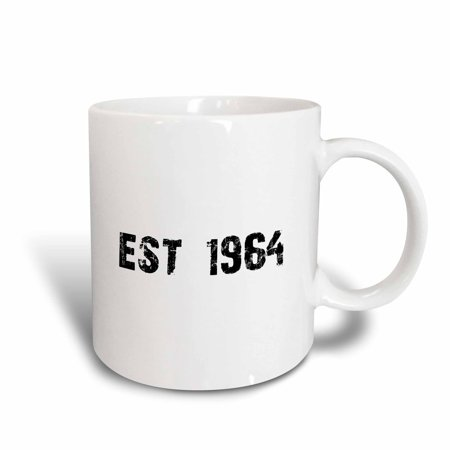 3dRose Grunge Est Established in 1964 - Sixties Baby Born Child of the 1960s - Personal custom birth year, Ceramic Mug, 11-ounce - Custom Kid