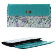 JAVOedge Turquoise / Paisley Quilted Pattern Protective Case for Apple Wireless Keyboard, Logitech K810, K811, and More