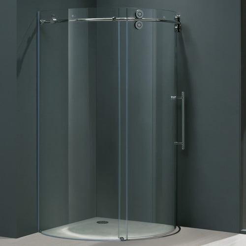 """Vigo VG603136R 36"""" x 36"""" Frameless Round Shower Enclosure with 5/16"""" Glass Right"""