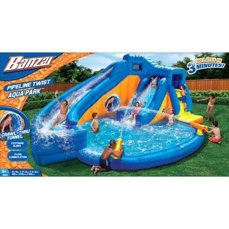 banzai pipeline twist aqua park inflatable dual water slide vortex tunnel cannons and