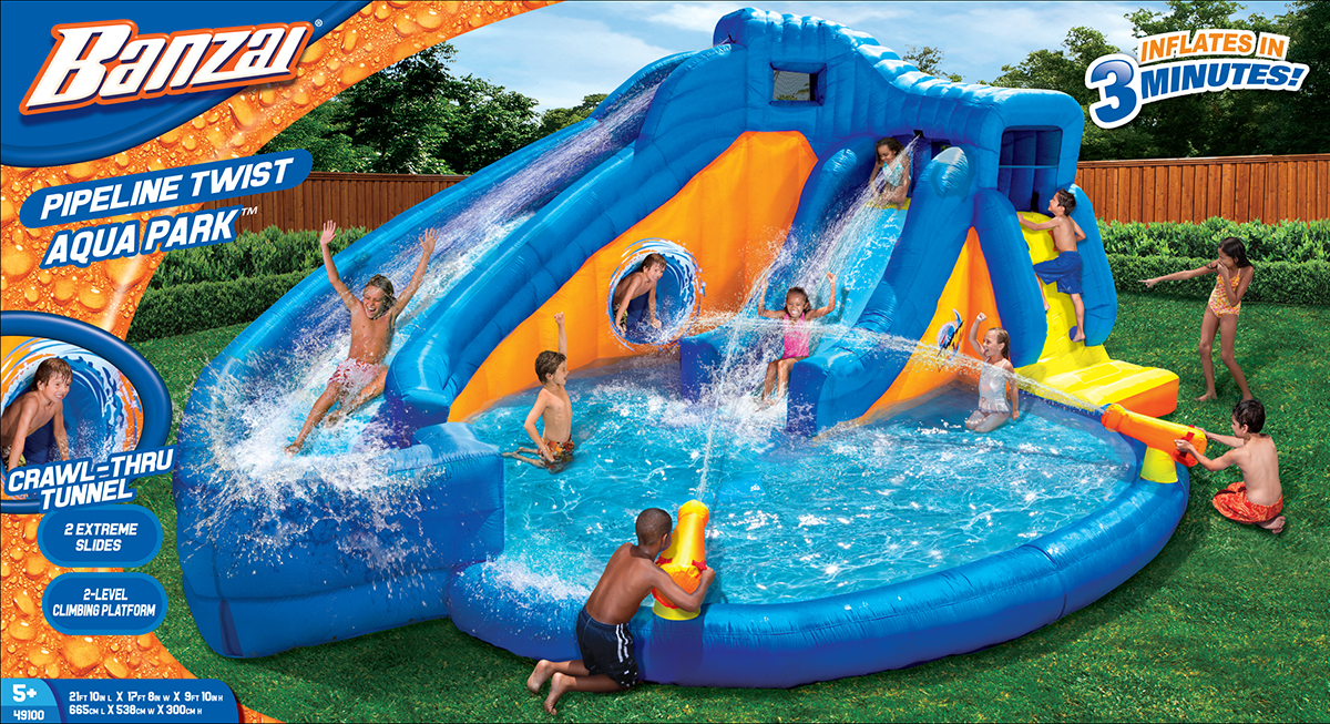 Banzai Pipeline Twist Kids Inflatable Outdoor Aqua Park