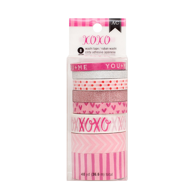 American Crafts Xoxo Everyday Pink Washi Tape Spools - Assorted Sizes and Designs - 40 Yards, 8 Rolls