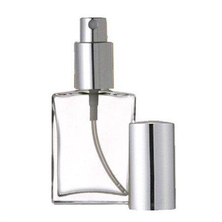 Grand Parfums Empty Perfume Atomizer 2 Oz , Flat Glass Bottle, Silver Sprayer 60ml Decant Fragrance Bottle