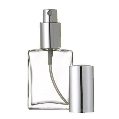 Grand Parfums Empty Perfume Atomizer 2 Oz , Flat Glass Bottle, Silver Sprayer 60ml Decant Fragrance