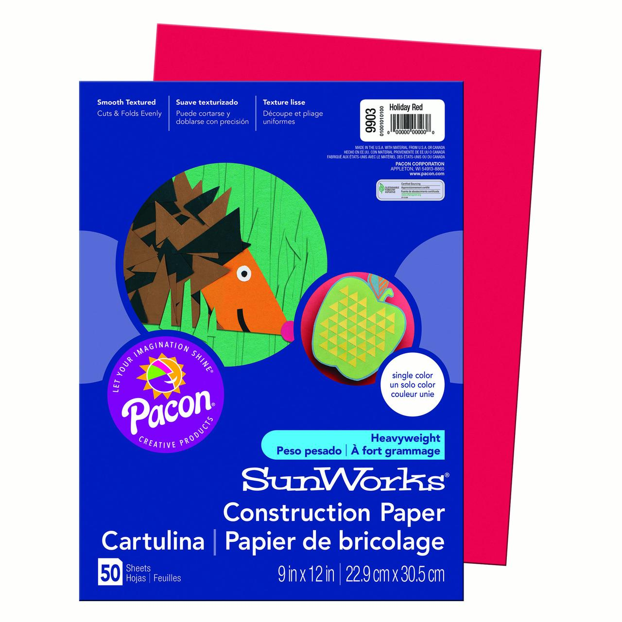 """Pacon® SunWorks® Construction Paper, 9"""" x 12"""", Holiday Red - 50 Sheets per pack, 10 packs"""