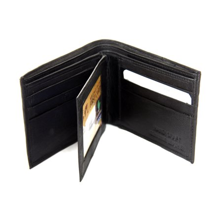 Men's Double Bill Bifold 6 Credit Card 2 ID Window Leather Black Wallet 3.5 x 4.5 inches (Leather Double Window)