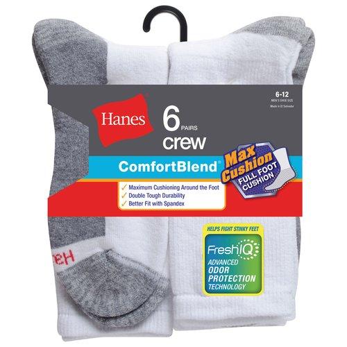 Hanes Men's Comfortblend FreshIQ Crew Socks 6-Pack