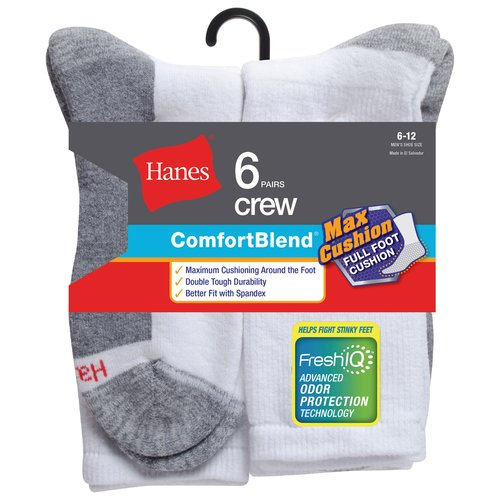 Hanes Men's FreshIQ Max Cushion Crew Socks 6-Pack