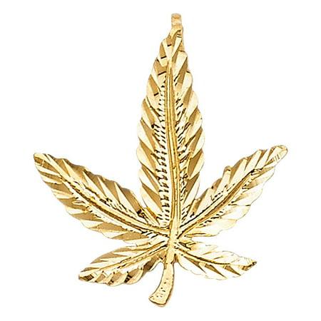 14K Solid Yellow Gold Marijuana Leaf Pendant (Gold Marihuana)