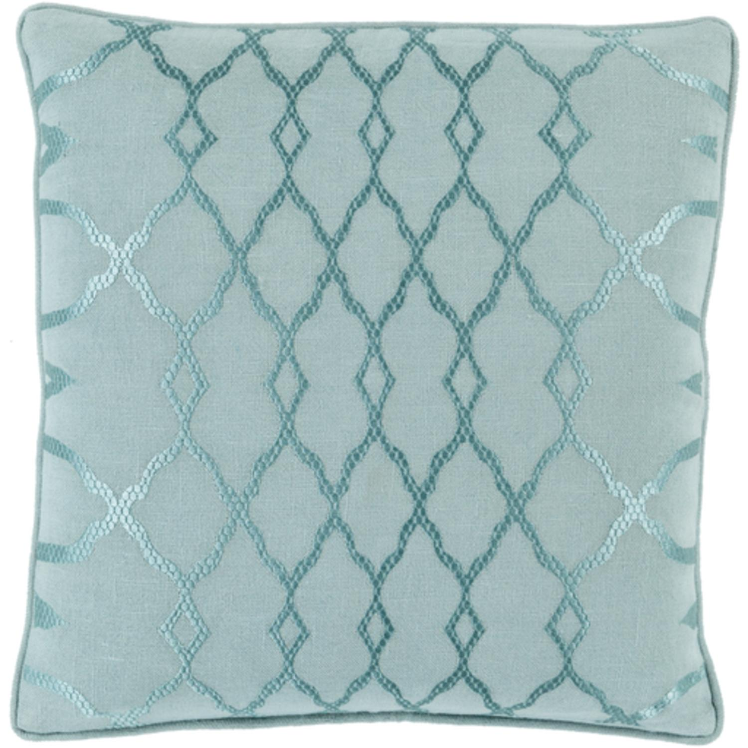 "20"" Mint and Seafoam Green Diamond Hand-Made Woven Decorative Throw Pillow"