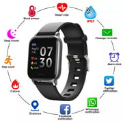Smart Watch for Android and iPhone, Doosl Fitness Tracker Health Tracker IP68 Waterproof Smartwatch for Women Men,Black