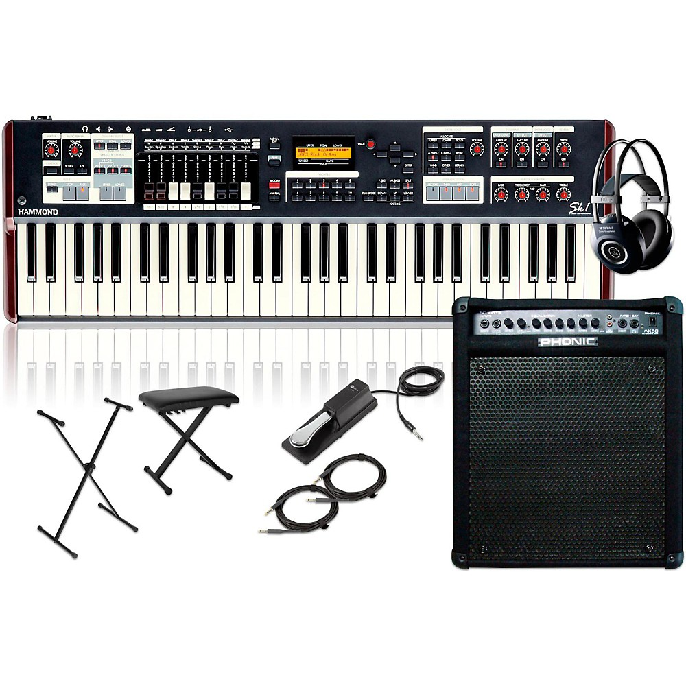 Hammond SK1 Organ with Keyboard Amplifier, Stand, Headphones, Bench, and Sustain Pedal by Hammond