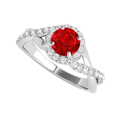 Jewelry Ruby CZ Criss Cross Halo Ring in 925 Sterling Silver - image 1 de 2
