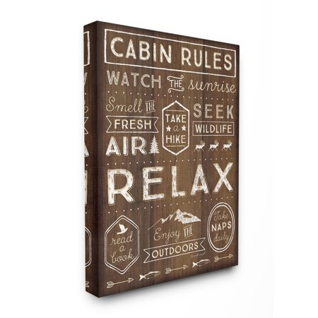 Cabin Wall Art - The Stupell Home Decor Collection Outdoors Cabin Rules Oversized Stretched Canvas Wall Art, 24 x 1.5 x 30