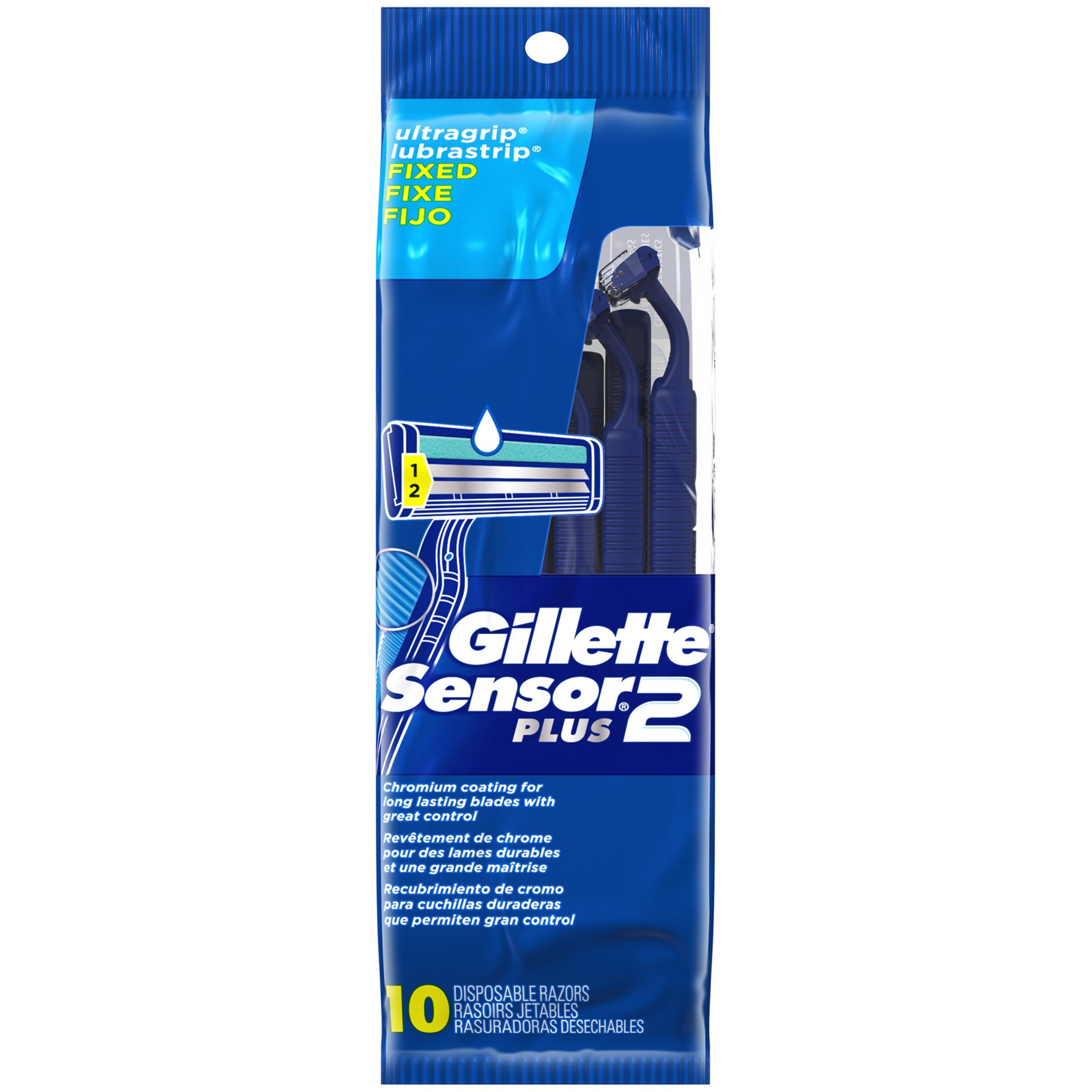 Gillette Sensor2 Plus Men's Disposable Razors, 10 Count