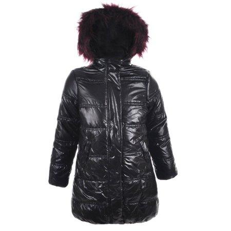 40d05517b9373 Urban Republic Little Girls Black Wine Faux Fur Trim Hooded Puffer Coat