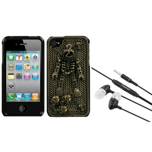 Insten Bronzed Skeleton Crystal 3D Diamante Case (w/Package) For iPhone 4 4S + 3.5mm Headset