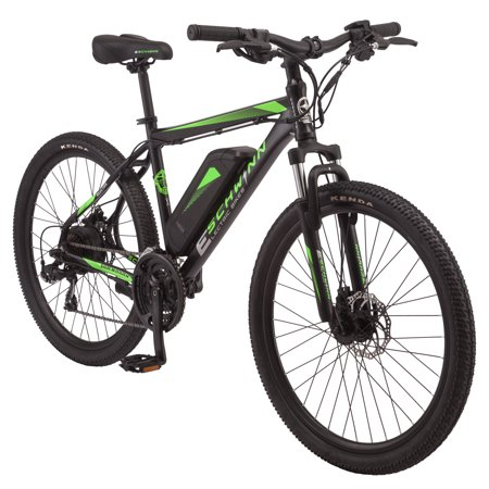 Schwinn Sidewinder electric mountain-style bicycle; 26-inch wheels, 21 speeds, black