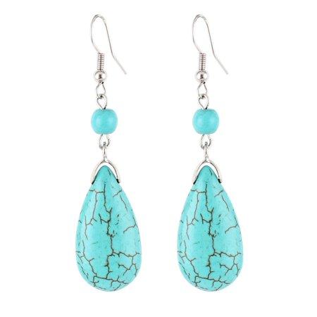 Turquoise Dangling Hook Earrings - Pair Waterdrop Turquoise Pendant Dangling Hook Earrings for Lady