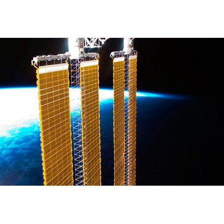 A partial view of International Space Station solar panels and Earths horizon Poster Print by Stocktrek (View Of Earth From International Space Station)