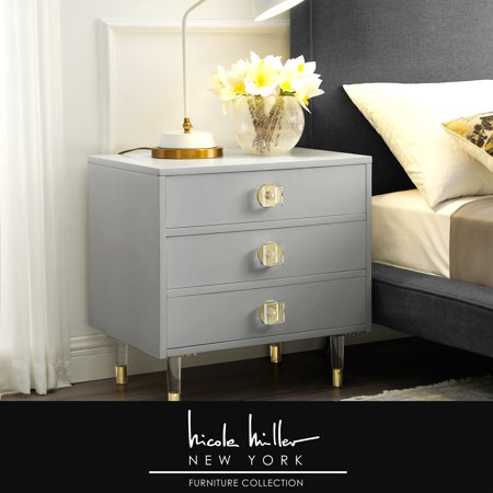 Nicole Miller Side Table Nightstand - Design Arnello | Light Grey | 3 Drawer | Acrylic Knob and