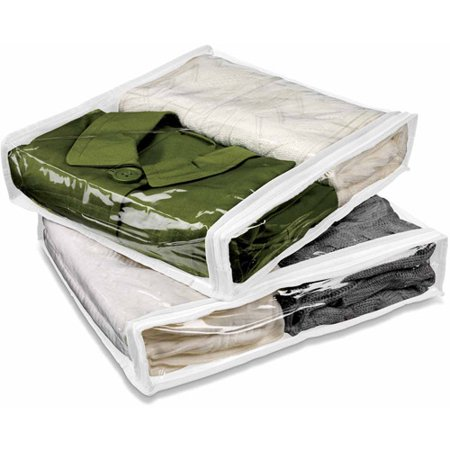 Honey Can Do White and Clear Storage Bags, 2pk The Honey Can Do White and Clear Storage Bags are designed to store your things in a small space, allowing you a tidy room that you will enjoy. They are made with polyester and clear PVC, giving a durable and long-lasting storage option. The two-pack clothing storage bags come with plenty of space to take advantage of.