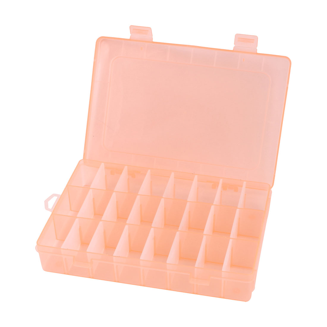 Unique Bargains Adjustable 24 3 Slots Jewelry Storage Box Case Craft Bead Organizer Coral Pink by