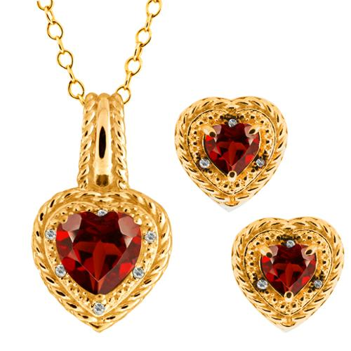 3.87 Ct Heart Shape Red Garnet Gemstone 18k Yellow Gold Pendant Earrings Set
