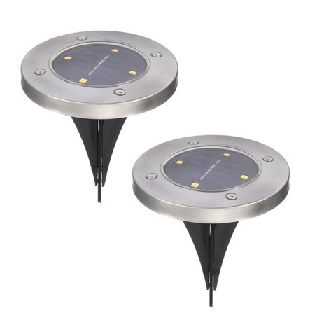 Solar Powered Disk Lights 4 LED Solar Pathway Lights Outdoor Waterproof Garden Landscape Lighting for Yard Deck Lawn Patio Walkway(2 PACK) ()