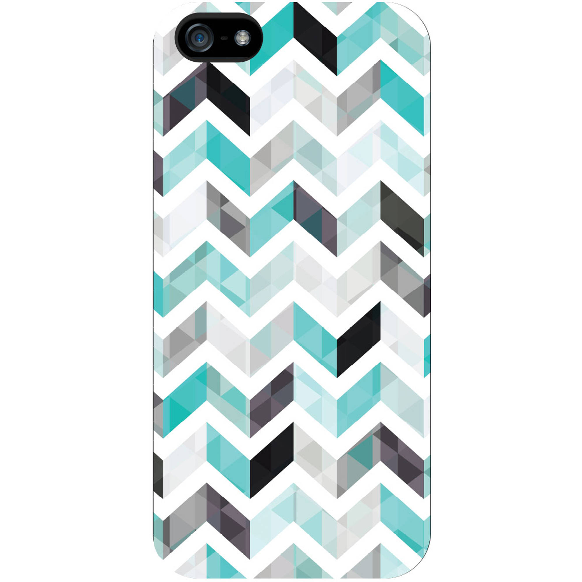 Centon On the Move Apple iPhone 5 White Glossy Case Ziggy Collection, Aqua