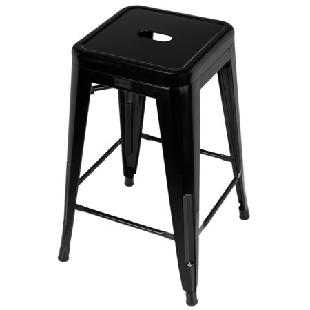 Tremendous Homegear 4 Pack Stackable Metal Kitchen Stools Chairs Black Gamerscity Chair Design For Home Gamerscityorg