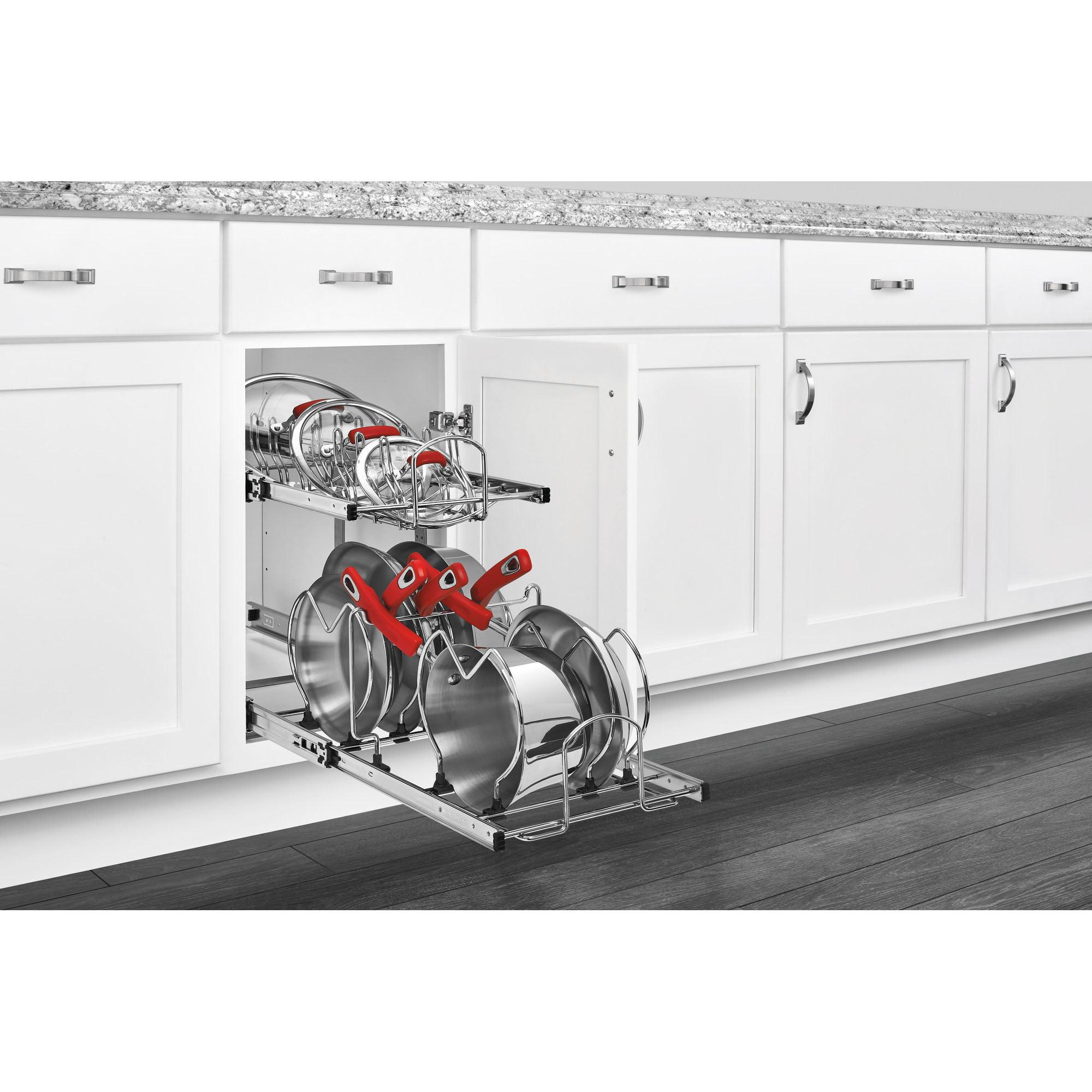 Chrome Rev-A-Shelf 5CW2-1222-CR 12 Pull-Out 2-Tier Base Cabinet Cookware Organizer