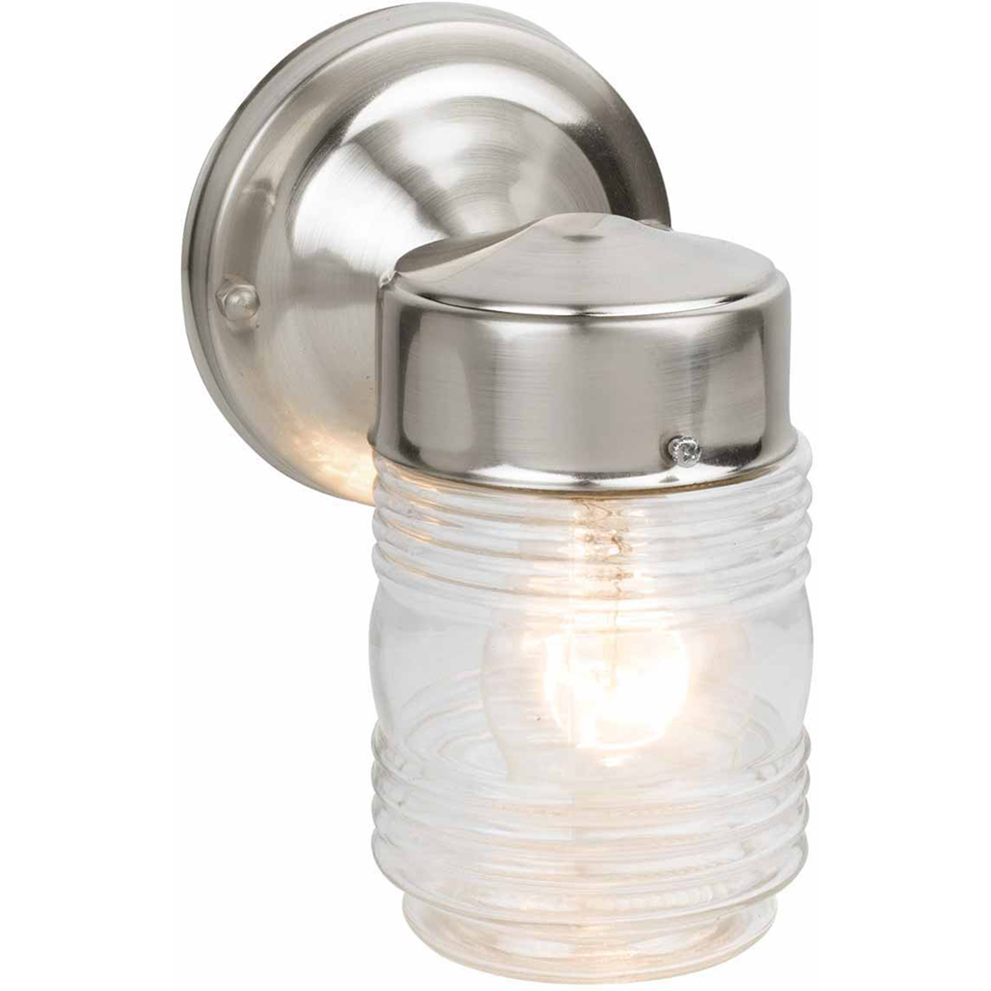 "Design House 507806 Jelly Jar Outdoor Downlight, 4.5"" x 7.5"", Satin Nickel Finish"