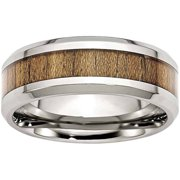 Stainless Steel Polished Wood Inlay Enameled 8.00mm Ring, Available in Multiple Sizes