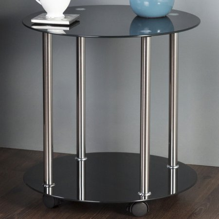 Laminate Occasional End Table - AVF 2-Tier Wheeled and Occasional Table, Black Glass and Chrome, T62-A