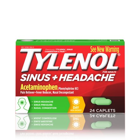 Tylenol Sinus + Headache Non-Drowsy Daytime Caplets, 24 (Best Otc Sinus Pain Medicine)