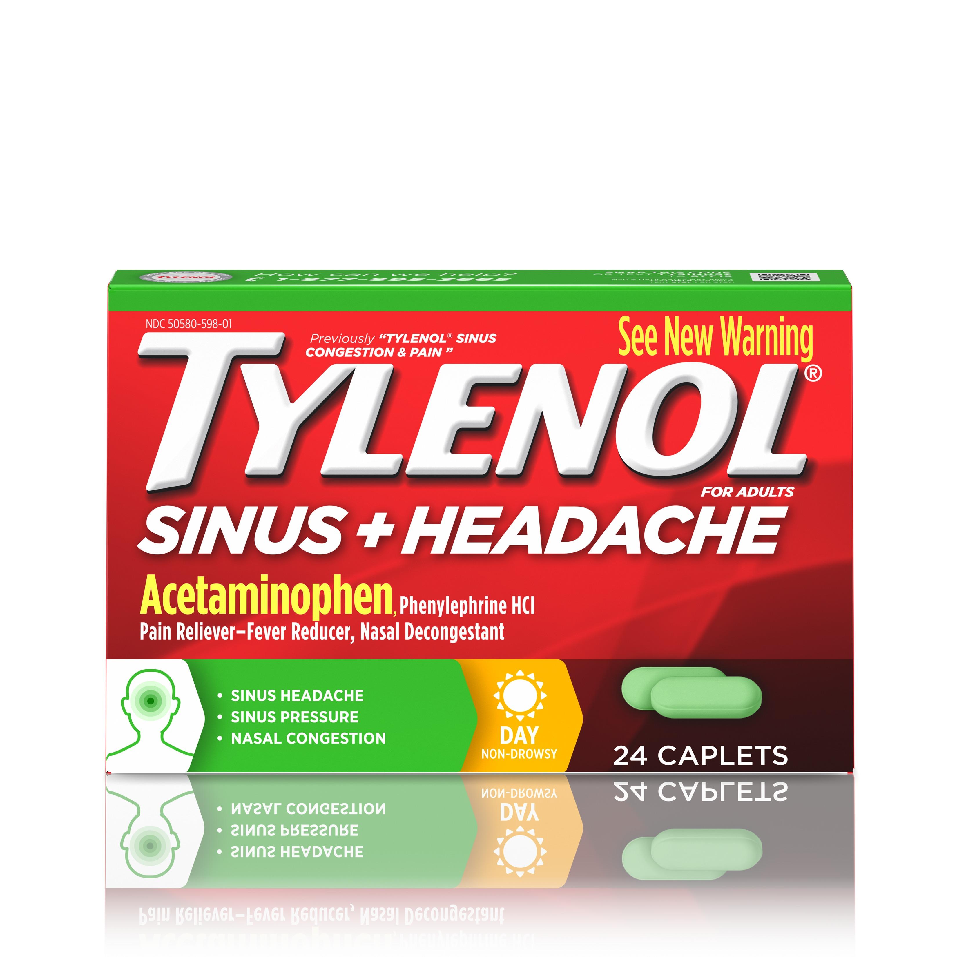Tylenol Sinus + Headache Non-Drowsy Daytime Caplets, 24 ct