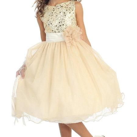 Little Girls Sequin Junior Bridesmaid Wedding Pageant Flower Girl Dress Gold Size 4 (K305D)](Gold Girl Dress)