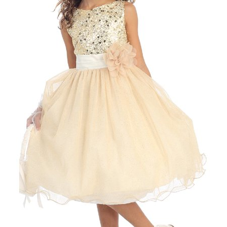 Little Girls Sequin Junior Bridesmaid Wedding Pageant Flower Girl Dress Gold Size 4 - Little Girls Gold Dress
