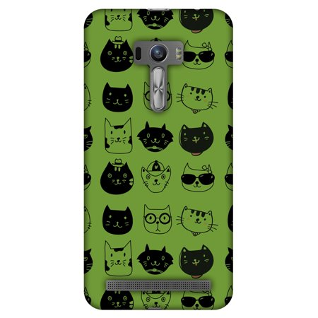 Asus Zenfone Selfie ZD551KL Case - Cat Party, Hard Plastic Back Cover. Slim Profile Cute Printed Designer Snap on Case with Screen Cleaning Kit (Slim Cat)
