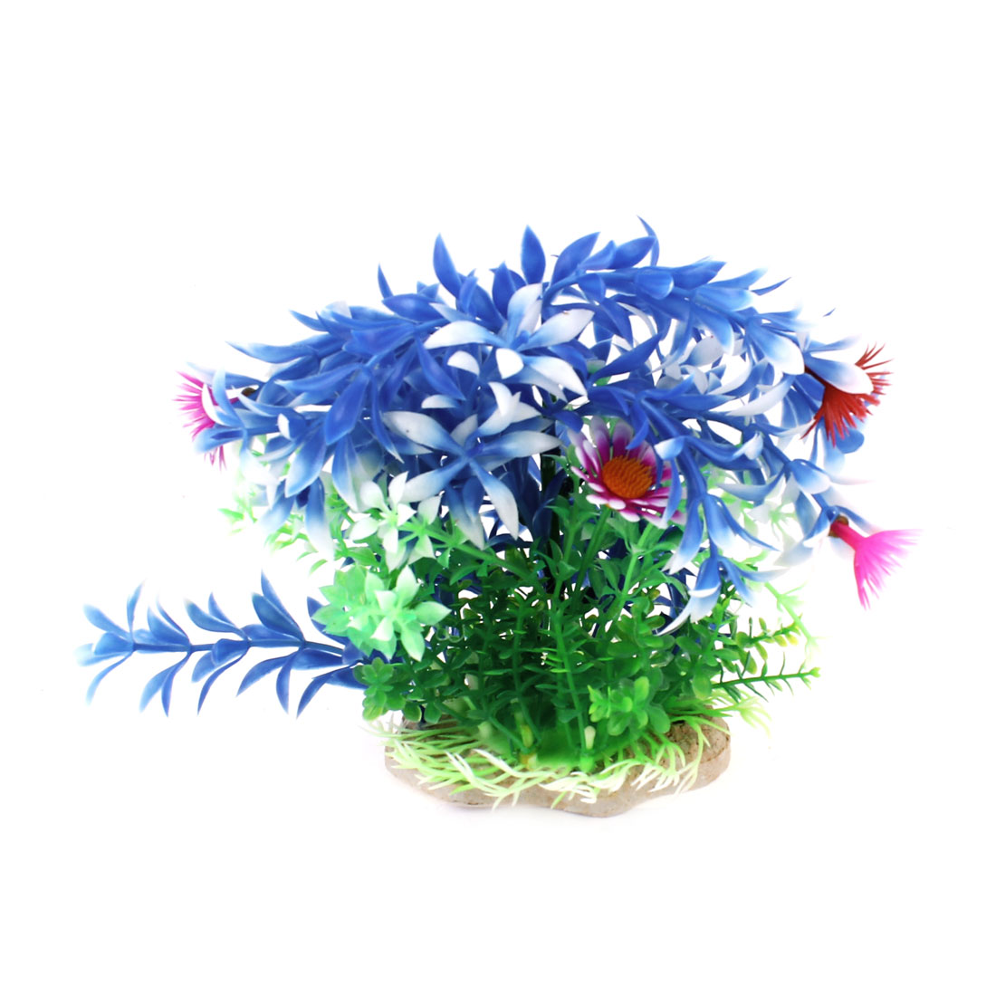 14cm High Artificial Landscaping Plastic Aquarium Plant Decor Blue White Green