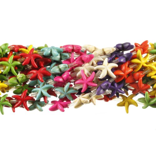 14mm Starfish Chalk Turquoise Dyed Mix, Loose Beads, 15 inch