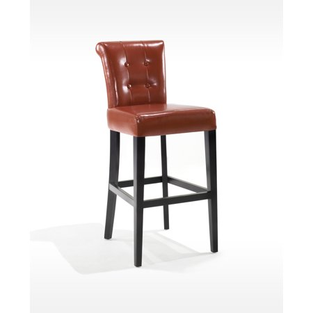 Sangria Stationary Tufted Bonded Leather Pub High Barstool-Color: Burnt Sienna, Stool: Bar Stool