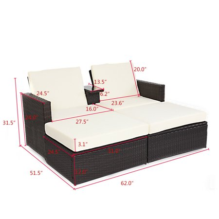 Double Lying Bed Chaise Lounge Chair Set Garden Rattan Wicker Outdoor Love Seat - image 3 of 7