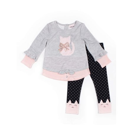 Little Lass Tie-Front Ribbed Knit Top and Polka Dot Leggings, 2pc Outfit Set (Baby Girls & Toddler Girls) Polka Dot Elmo