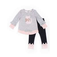 Little Lass Tie-Front Ribbed Knit Top and Polka Dot Leggings, 2pc Outfit Set (Baby Girls & Toddler Girls)